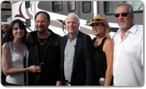 (L-R) Biddy Schippers, Denny Randell, Senator John McCain, Deanna Clarkson, Bob Smith